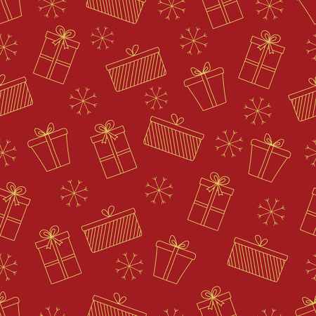 Pattern with Christmas elements for your design. Hand drawn Merry Christmas and Happy New Year doodle seamless pattern. Gold and red festive winter seamless pattern. Gift boxes and snowflakes.