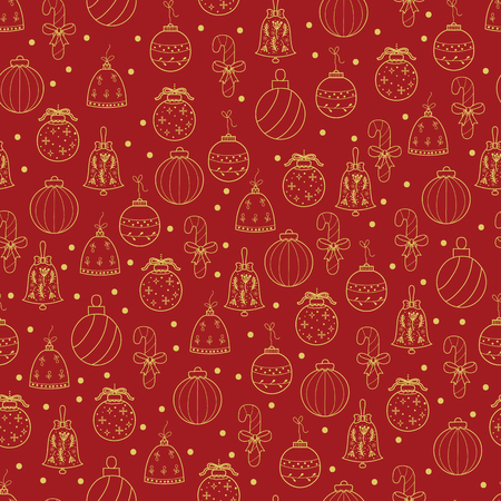 Pattern with Christmas decorations for your design.Hand drawn Merry Christmas and Happy New Year doodle seamless pattern. Gold and red festive winter seamless pattern.