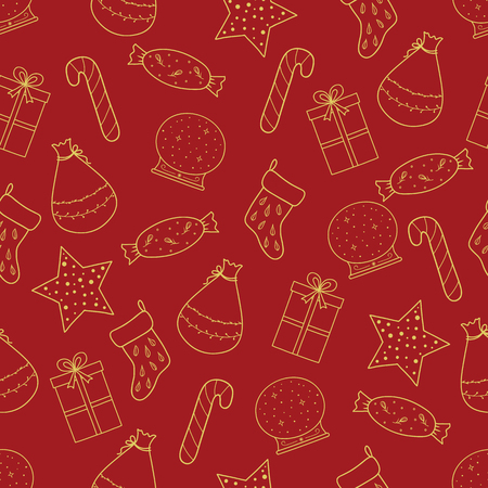 Pattern with Christmas elements for your design. Hand drawn Merry Christmas and Happy New Year doodle seamless pattern. Gold and red festive winter seamless pattern. Standard-Bild - 115913044