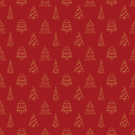 Pattern with Christmas trees for your design.Hand drawn Merry Christmas and Happy New Year doodle seamless pattern. Gold and red festive winter seamless pattern. Standard-Bild - 115913048