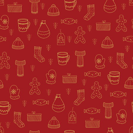 Pattern with Christmas elements for your design. Hand drawn Merry Christmas and Happy New Year doodle seamless pattern. Gold and red festive winter seamless pattern. Standard-Bild - 115913049