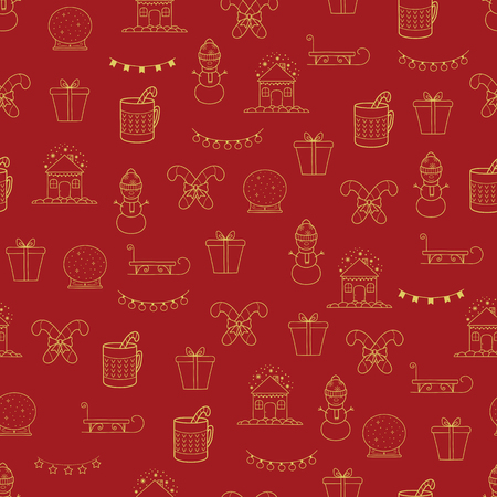 Pattern with Christmas elements for your design. Hand drawn Merry Christmas and Happy New Year doodle seamless pattern. Gold and red festive winter seamless pattern. Winter house, snowman, lights garland, warm drink in mag, crystal snow globe, sledges and caramel christmas cane