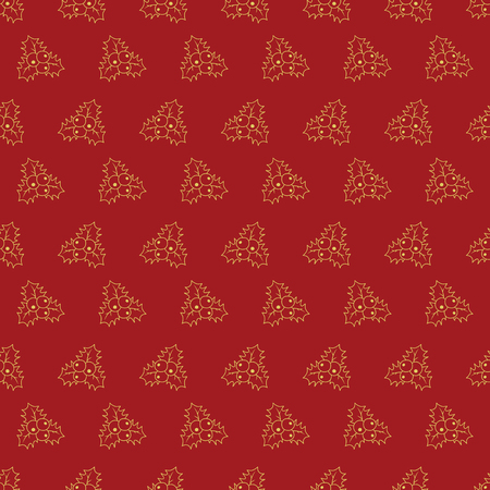 Pattern with Holly berry leaves. Hand drawn Merry Christmas and Happy New Year doodle seamless pattern. Gold and red festive winter seamless pattern.
