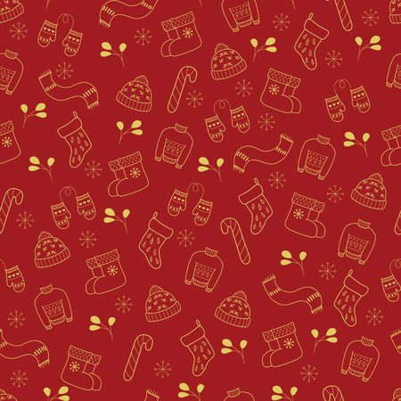 Pattern with Christmas elements for your design. Hand drawn Merry Christmas and Happy New Year doodle seamless pattern. Gold and red festive winter seamless pattern. Warm winter  Christmas clothes.