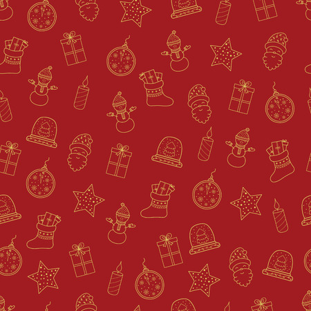 Pattern with Christmas elements for your design. Hand drawn Merry Christmas and Happy New Year doodle seamless pattern. Gold and red festive winter seamless pattern. Snowman,  crystal snow globe, watch with snowflakes, candels, christmas socks, Santa Claus, present box