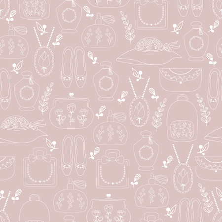 Hand drawn seamless fashion pattern for girls , woman . Fashion accessories.This pattern can be used for  business cards, postcards, wedding invitations , wrapping paper