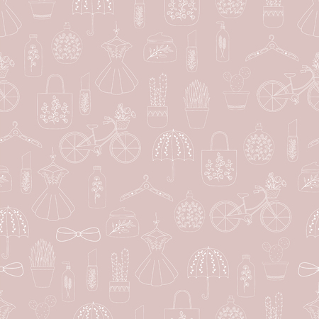 Hand drawn doodle fashion seamless pattern . Women clothes and accessories .Fashion girl . 向量圖像