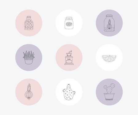 Social network highlight stories icons. Business icons. Social media.