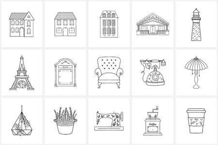 Hand drawn icon elements and icons. Hand drawn decorative vector elements with flower design .