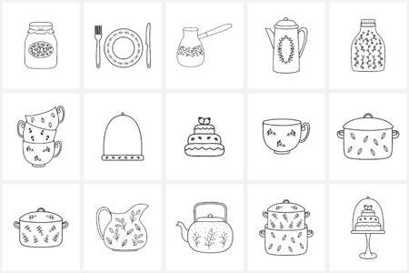 Elementos e iconos dibujados a mano del icono. Elementos vectoriales decorativos dibujados a mano con diseño floral.