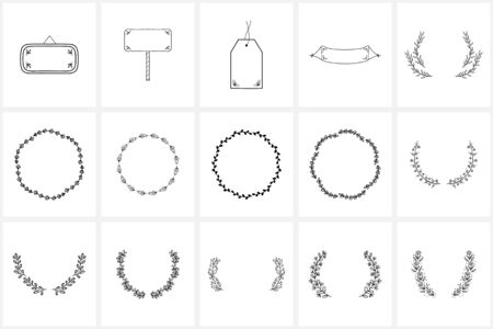 Hand drawn icon elements and icons, wreaths, frames. 向量圖像