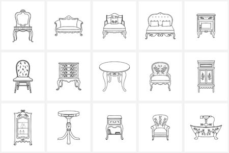 Hand drawn elements and icons.Furniture icons. Vintage furniture. Retro furniture.