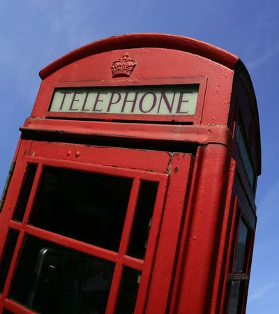 antique booth: A British call box, or phone booth, in England.
