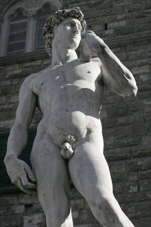 scrotum: Miguel �ngel  's r�plica de la estatua David tarde en el d�a que el sol arroja sombras largas sobre la ciudad de Florencia.  Foto de archivo