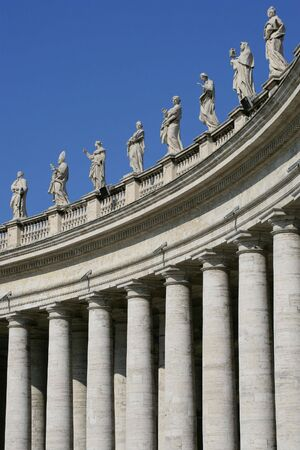 colonade: The columns and statues in the square of The Vatican.