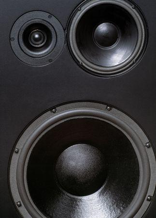 tweeter: Large studio loudspeakers including tweeter, mid, and woofer. Stock Photo