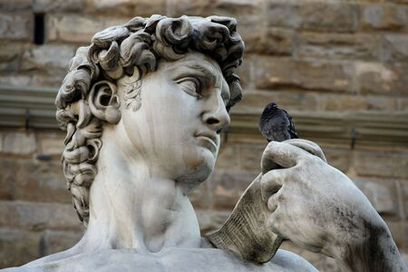 replica: Michelangelos replica David statue conversing with a pigeon in Florence, Italy. Stock Photo