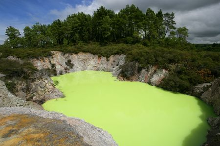 sulphur: Strange green water of Lake Ngakoro in Rotorua, New Zealand.  (Green color is caused by the sulphur and ferrous salts mixing in the water)