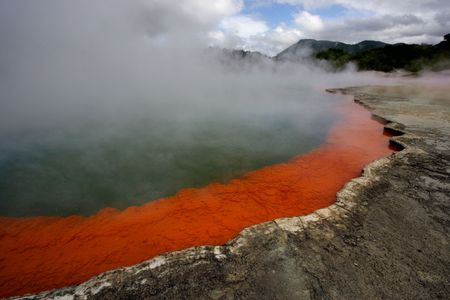 Champagne Pool (hot thermal pool) in Rotorua, New Zealand. photo