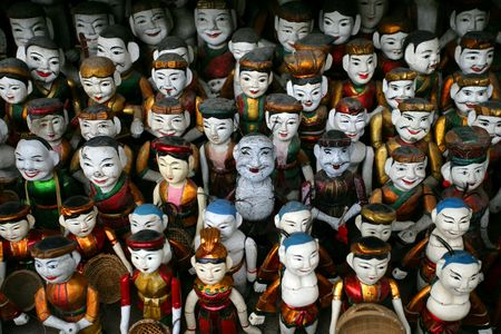 puppets: Vietnamese water puppets in Hanoi, Vietnam.