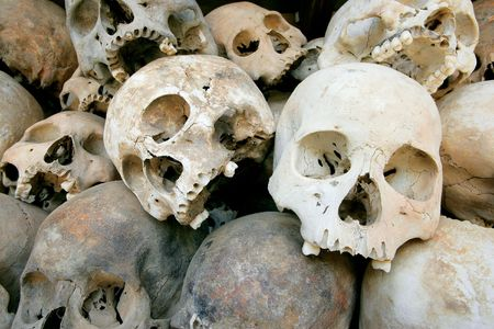 A pile of skulls from the Killing Fields in Phnom Penh, Cambodia. photo