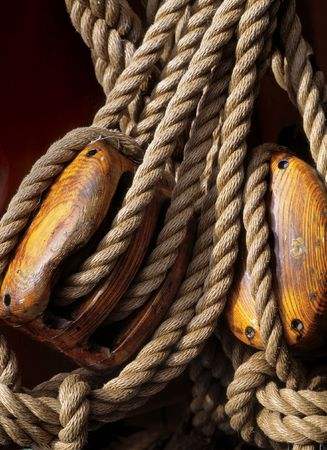 seafaring: Ropes and rigging from an historic battleship.