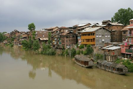 kashmir: A small community in Srinagar, Kashmir (India) on a hot muggy summer day.