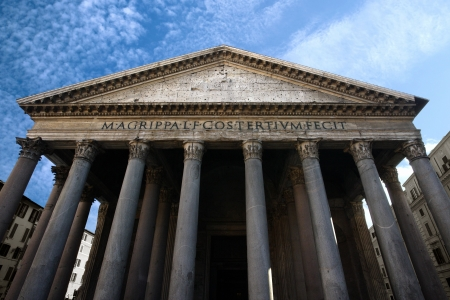 civilisation: Image of the facade of the Pantheon in Rome, Italy. Shot with wide angle lens at a very low angle.