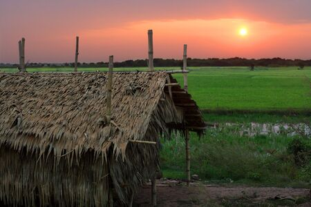 Sunrise in a poor Cambodian village just outside Siem Reap. photo