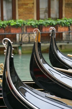 The Gondola parking lot in Venice, Italy. Stock Photo