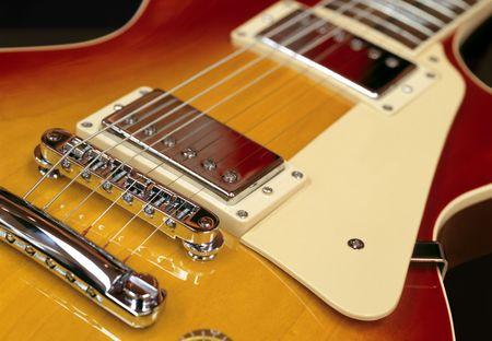 pickups: Closeup of pickups on an electric guitar Stock Photo