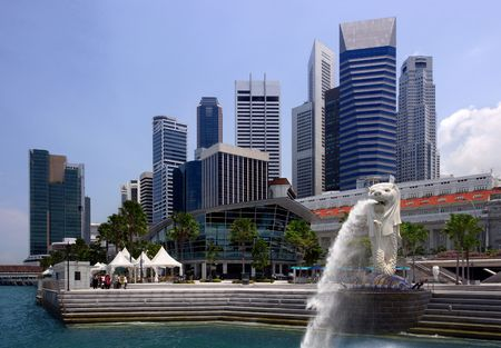 View of Singapore city, harbour, and Singapore Icon. Stock Photo