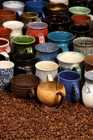 coffeebeans: A collection of ceramic coffee mugs - background image for coffee establishments.