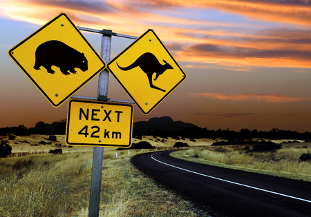 A road sign in the outback of Australia.  Focus is on the sign - landscape is slightly out of focus. Stock Photo - 1425906