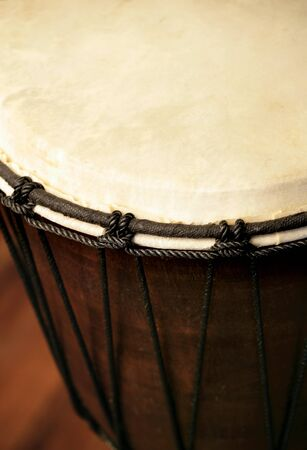 Selective focus image of a Djembe drum. photo
