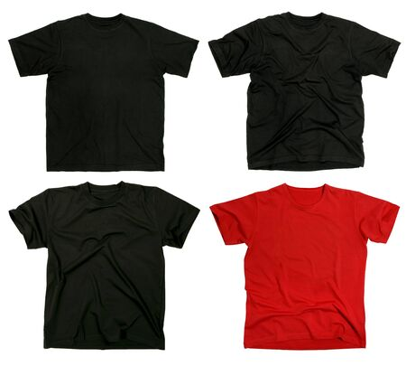 shirt template: Photograph of four blank t-shirts, new and old, wrinkled and flat.  Ready for your logo or design.