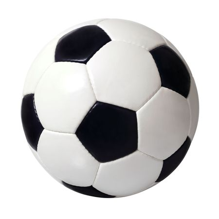 pelota de futbol: Una imagen aislada de una pelota de f�tbol de cuero.  Foto de archivo