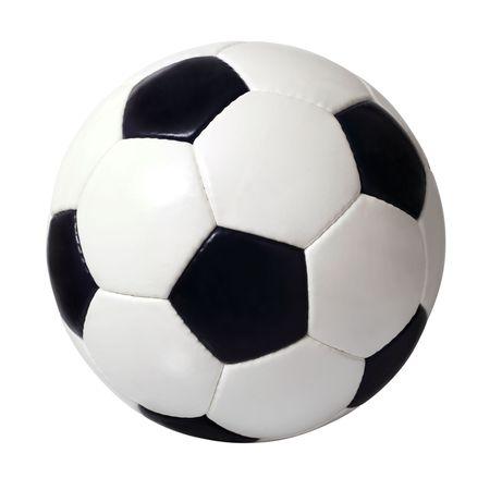 ballon foot: Une image isol�e d'un ballon de cuir.