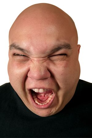 enraged: A very ill-tempered male yelling about something.