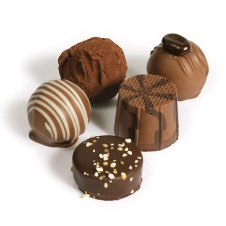 pralines: Delicious dark, milk, and white chocolate pralines.