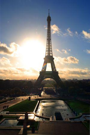 The Eiffel Tower in Paris, France in the morning as the sun rises. photo