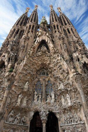 sagrada: The unfinished church of Sagrada Familia in Barcelona Spain.