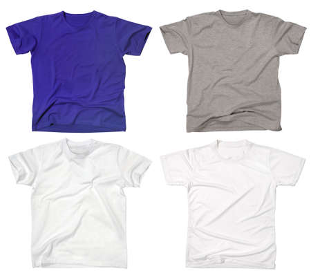 Photograph of four blank t-shirts, new and old, wrinkled and flat Stock Photo - 2119972