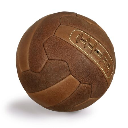 An isolated image of an old retro leather soccer ball. Stock Photo