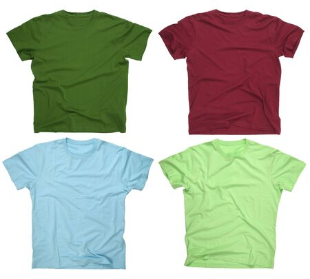 Photograph of four blank t-shirts, burgundy, dark green, lime, and light blue Stock Photo - 2328843