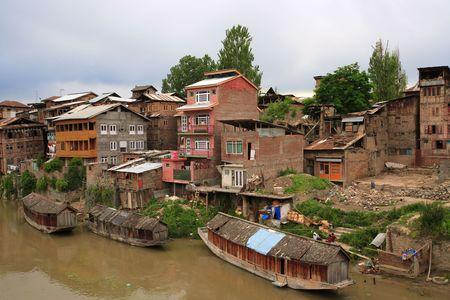 muggy: A small community in Srinagar, Kashmir (India) on a hot muggy summer day.