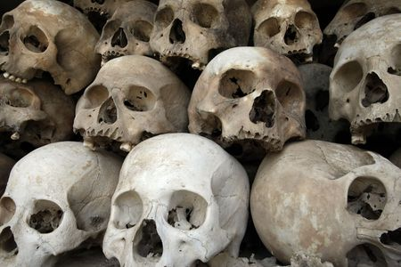 A pile of skulls from the Killing Fields in Phnom Penh, Cambodia. Stock Photo - 2403512