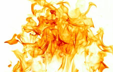 llamas de fuego: Dancing llamas contra un fondo blanco.