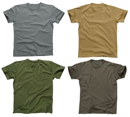 Photograph of four blank t-shirts, greys, beige, and army green