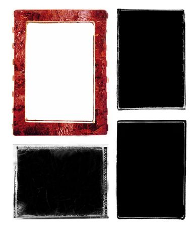 enlarger: Series of three darkroom 35mm film photo borders and one Polaroid frame with rough edges.  Rough edges for the 35mm were created by filing the metal edges of different negative carriers for my enlarger.  Scanned, mutilated, enhanced and altered in photosh Stock Photo